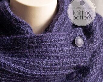 Knitting Pattern Scarf. Knitting Pattern Cowl. Knit Scarf. Knit Patterns. Infinity Scarf Knitting Pattern. Purple Knitted Scarf Pattern.