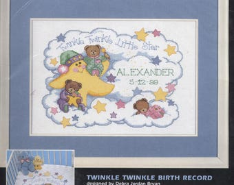 Twinkle Twinkle Birth Record Counted Cross-Stitch Kit