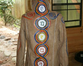 Hand Painted Suede Chakra Jacket