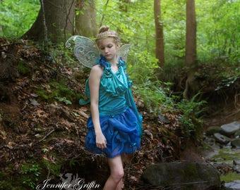 Blue Fairy Costume- Complete Fairy Costume- Teen Fairy Costume- XXS Womens Fairy Costume- Fairy Wings- Flower Fairy- Water Fairy