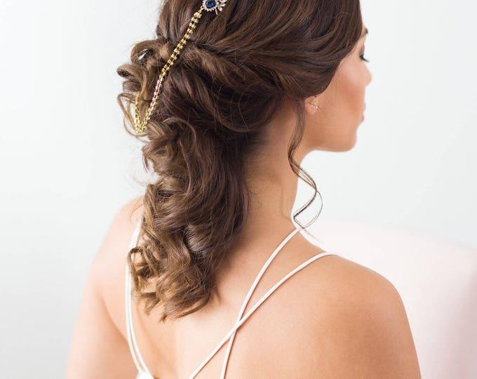 Sapphire Blue Headpiece, Art Deco Draped Headpiece, Gold bridal hair chain, Gold Forehead Piece, Draped Hair piece, wedding chain headpiece