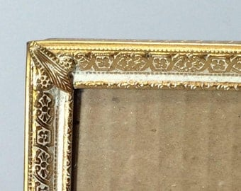 Gold Picture Frame, Gold Metal White Washed Picture Frame, Table Top Photo Frame, Wedding Frame, Cottage Chic Picture Frame