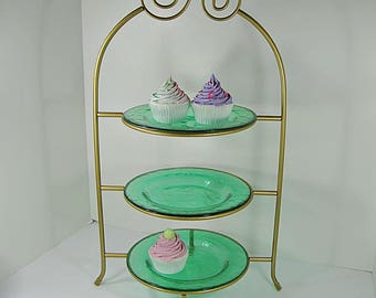 Vintage GOLD PIE STAND 3 Tier Metal Footed Kitchen Rack Storage Pastry Display