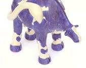 Cow 1, Cobalt Blue and White Handbuilt Glazed Stoneware Sculpture