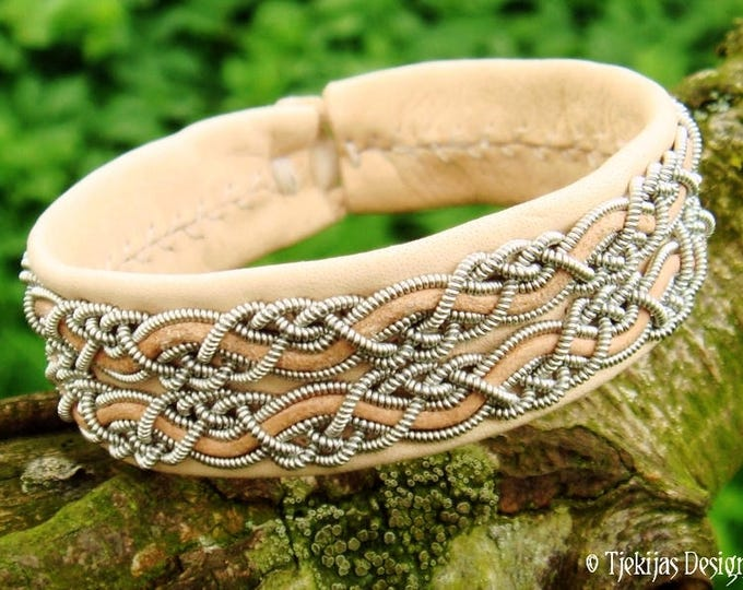 Lapland Fashion Bracelet MUNINN Natural Leather Viking Cuff decorated with Pewter Braids for Guys and Girls, Handmade in Sami style