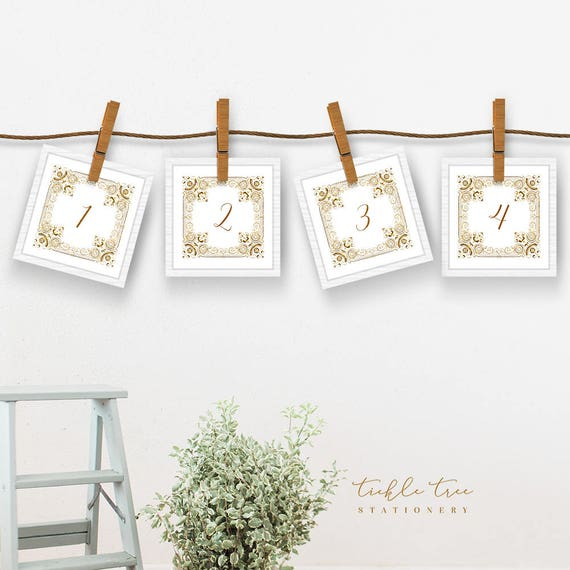 Table Numbers - Gold Ornate Frame