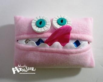 Kleenex Kreature; Tissue Holder; Pocket Tissue; Travel hankie;  back to school; purse pal; tissue cover; pink tissue monster