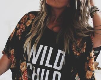 Wild Child,  Off shoulder shirt, Customizable Shirt, Teen Girl shirt, Gifts for her, Boho Shirt, Bohemian Shirt, Gypsy Shirt, Tribal Tee
