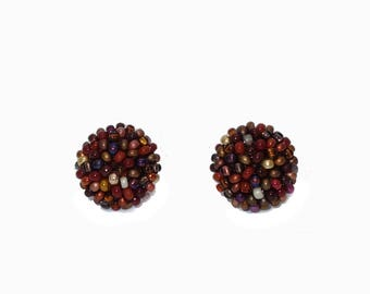Brown beads mix studs earrings -15 mm/ charming earring with CLIP on or SILVER post - for pierced or non piercer earlobe