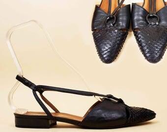 80s does 50s Vtg Black Snakeskin + Genuine Leather O Ring Slingback Sandals / Low Chunk Platform Heel Avant Garde Couture Footwear