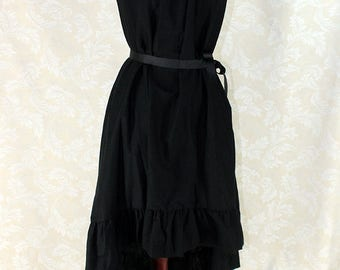 """Steampunk Cap Sleeved Ragamuffin Dress in Black Cotton -- Size M, Fits Bust 36""""-40"""" -- Ready to Ship"""