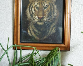 Framed Vintage Tiger Painting on Canvas