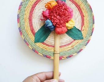 Colorful Mayan Woven Straw Raffia Fan