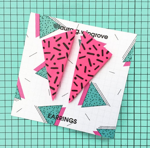 80s Pattern Triangle Earrings