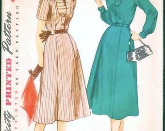 Nice Vintage 1950s Simplicity 4802 Shaped Yoke Shirtwaist Dress , Shirtdress Sewing Pattern B34