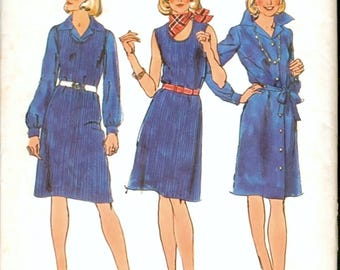 Classic Uncut Vintage 1970s Simplicity 6111 Button Front Shirtdress and Sleeveless Knit Jumper Dress Sewing Pattern B32.5