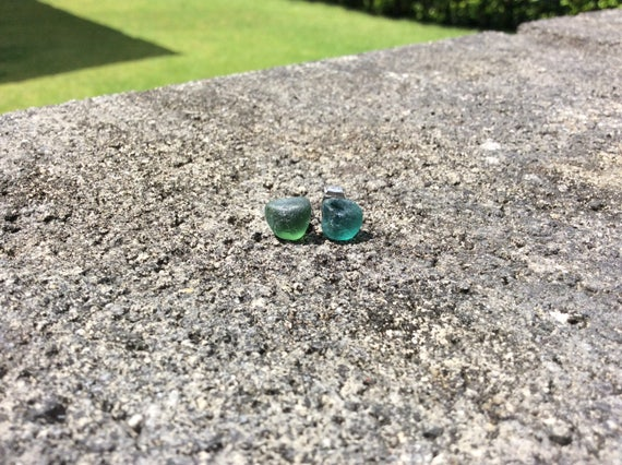 Surf Tumbled Green Teal Seaglass Stud Earrings