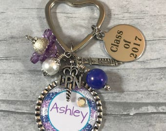 NURSE Keychain. PERSONALIZED Gift for Rn Grad. LpN. BsN Graduate Gift. Special Nurse Gift. Medical Thank You Gift. Key Chain. Class of 2017