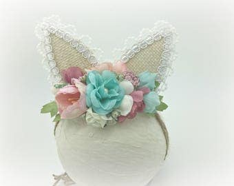 Easter Bunny Ears headband, Pink and blue bunny ears headband, Pink and blue flower crown. Bunny flower headband, Baby girl Bunny Headband