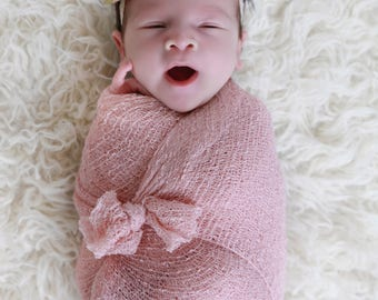 Blush Knit Swaddle Wrap AND/OR Toffee Flower Vintage Lace Headband for girls, newborns, Lil Miss Sweet Pea