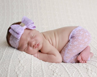 Newborn Lavender Lace Pants for Photo Shoots with lace bow headband, photographer, infant pants, baby pants, bebe by Lil Miss Sweet Pea