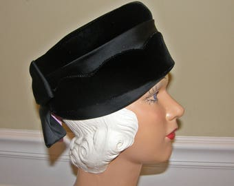 Black Velvet Pillbox FREE Shipping US Jackie O Styling Has Scalloped Edge and Satin Bow