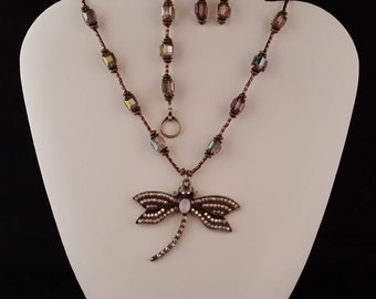 Antique Gold Dragonly Necklace, Bracelet and Earring Set