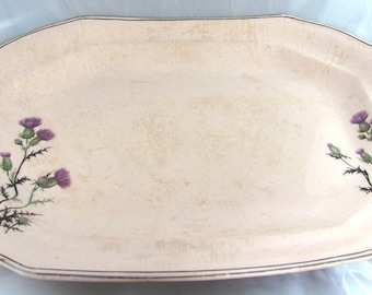 Unique Antique Serving Platter Pink with Purple Thistle flowers Victorian Collectable Rare Design by Taylor Smith Taylor