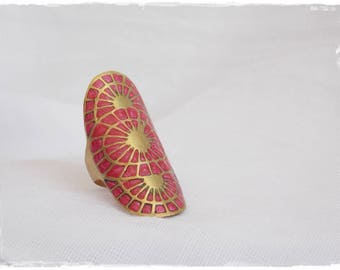 Statement Brass Ring, Large Brass Ring, Statement Pink Ring, Geometic Brass Ring, Polymer Clay Ring, Fuchsia Pink Ring, Very Large Ring