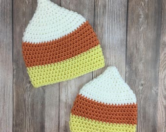 Candy Corn Baby Hat, Halloween Baby Hat, Candy Corn Beanie, Candy Corn Costume Hat, Crochet Baby Hat, Baby Photo Prop, Halloween Baby