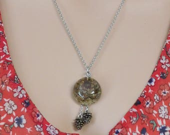 Real pine cone in resin necklace with enameled metal pine cone dangles