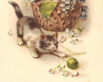 Cute Kittens with Ball of Yarn & Flower Basket Antique French Chromolithograph Postcard Post Card from Vintage Paper Attic