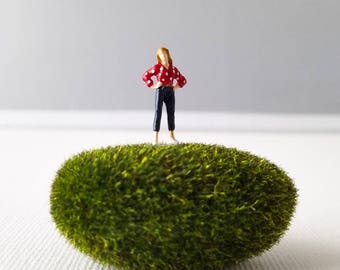 Miniature World Terrarium People Tiny Woman Red Polka Dot Summer HO Scale Hand painted One of a Kind Railroad Figure