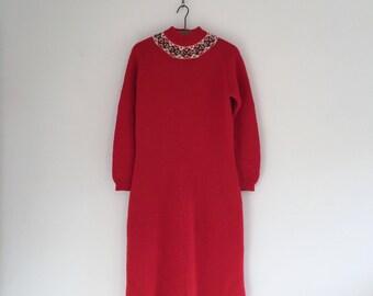 Vintage 70's Red Fair Isle Christmas Sweater Dress M