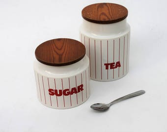 Hornsea Striped Tea and Sugar Canisters