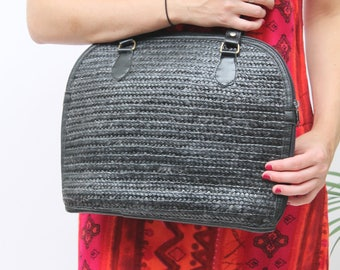 Black Raffia Shoulder Bag