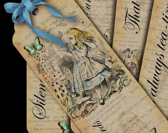 Six Alice in Wonderland illustrations bookmarks. DIGITAL DOWNLOAD