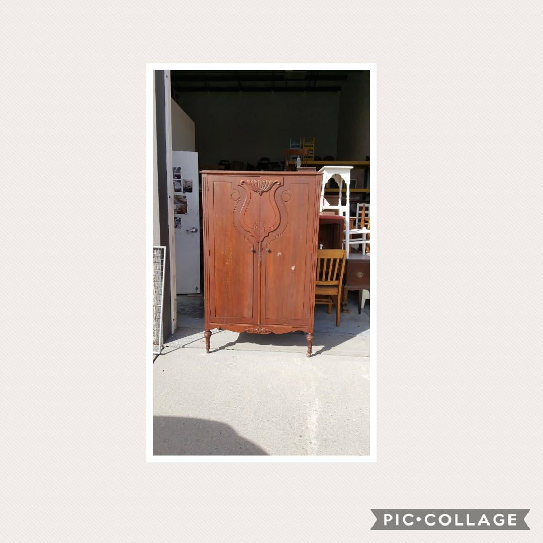Vintage Wardrobe, Closet, Armoire PICK UP ONLY, Painting Inc., Farmhouse,  Rustic, Shabby Chic Storage, Custom Painted Bedroom Dresser, Chest
