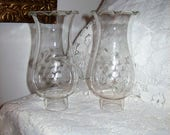 "Vintage  Etched Glass Chimney Replacement Globes 6 1/2"" Tall Pair 14 USD"