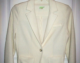 Vintage 1960s Ladies Off White Cream Blazer by Douglas Marc Medium Only 10 USD