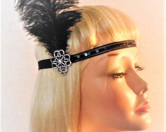 Black Gatsby Headband - 1920s Headpiece - Flapper Costume - Roaring 20's Headband