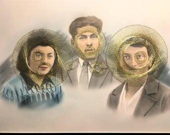 français antique portrait de famille brodée au fil doré  string art