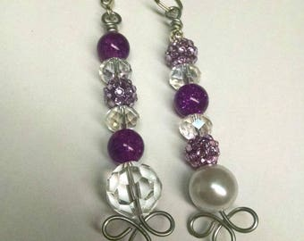 Beaded Fan / Light Pull Pair - Purple, Clear, Pearl - Assorted Beads