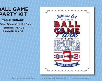 Take Me Out to the Ball Park, Baseball Printable Party, Ball Game Ball Park Baseball Theme, Baseball Birthday Party Kit