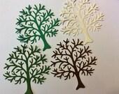 "Handmade, 4 Big Trees, Die Cuts, 2 Different Greens, Beige, Brown, Sizzix, Cards, Scrapbooking, Sympathy Card, 4 1/2"" x 4 1/2"""