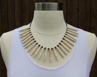 White Turquoise Bib Necklace