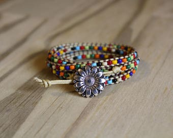 Sunflower Multi Color Wrap Bracelet