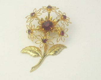 Vintage Red Rhinestone Golden Flower 1960's Mid Century Costume Jewelry BROOCH Pin Gift For Her Best Deal