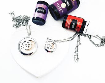 Moon and Stars Diffuser - Aromatherapy Necklace - Stainless Steel Essential Oil Diffuser Necklace - Aromatherapy - Essential Oil Necklace