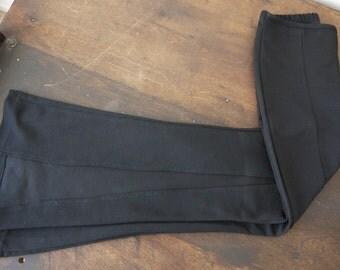 Vintage SWAT black bell bottoms with slits / vintage black bell bottoms / 70s black bells / bell bottoms with front slits / 70s Bell Bottoms